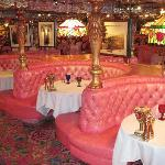 Our table in the Madonna Inn Steakroom