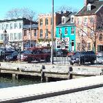 Cobble stone streets and buidlings near water taxi Fells Point