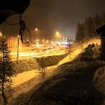 view at night towards village centre when snowing