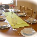 Town house dining table with 8 seats.