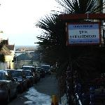 The Strathmore b&b sign and view down to the seafront