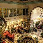 Night time shot of the interior courtyard at the Old Vine