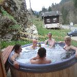 socialising in the hot tub