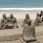 Sand Sculpture the Artist is From Venezuela takes over two weeks to make this