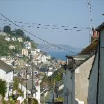 View from the hill looking down to Looe, the Old Malt House is just around the slight bend
