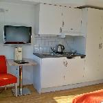 Nice small kitchenette in a studio apartment.