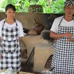 Chef Bagus and assistant in purpose built Balinese Kitchen - for cooking class