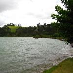 The bay right in the backyard of Wainui Lodge