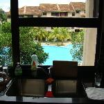 Kitchen window overlooking the pool area