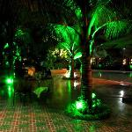  The pool area by night.