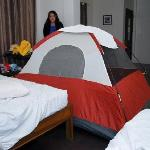  Our room was so spacious, we could set up a tent inside... and we did!