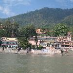  Sanskriti viewed from Swag Ashram (across the river) the building with the tinted glass panes. 