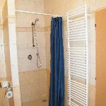  Shower with heated towel rack