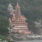 Temple on other side of bank