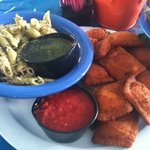 fried ravoli with pesto pasta salad