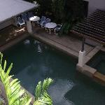  The view of the pool area from our townhouse balcony