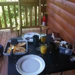  breakfast on the cabin porch