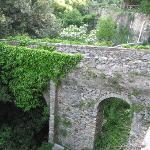 12th century bridge connecting the patio to the hill behind the house.