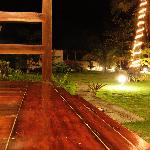 Polished molave floor of the villa; night view of the garden.
