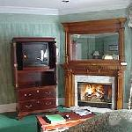 gas log fireplace in each Suite