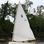 Our 30' charter sailboat, Jammin, under sail in the Cape Fear River near Wilmington, NC
