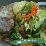 crab cakes, sautéed veggies and a side salad