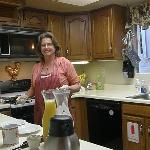 Dawn preparing a fabulous breakfast at Butterfield B&B, Julian, Ca.