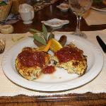 Frittata with turkey sausage at breakfast, Butterfield B&B, Julian, Ca.