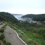 View from upstairs rooms of terrace and Fishguard harbour