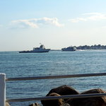 going out - the fast ferry to Block Island. coming in - the car ferry from Long Island