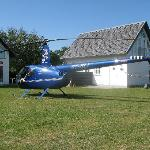 Guests traveling with their own helicopter. In the background you see the two new guest houses f