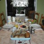 Breakfast spread at B & B