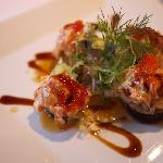 Jewels of the Sea (galettes made with sushi rice lightly fried and topped with a slice of house-