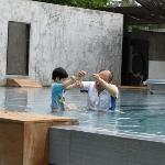 Playing with my son in the pool