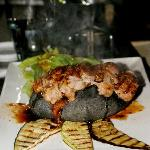 steak cooked on volcanic rock!