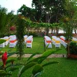  Seating on the lawn for wedding guests
