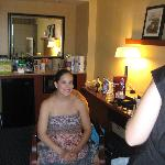 bride getting ready in suite
