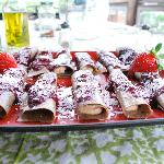 Breakfast Crepes: Vegan Lemon Creme w/fresh berry sauce