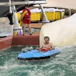 My son and husband on the waterslide