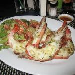 :  Two jumbo king prawns grilled with garlic butter at the Aussie BBQ restaurant.  The prawns we