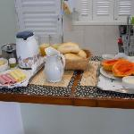 Breakfast at BossHouse B&B: Fresh bread rolls, cold meat, crambled egg, cheese, fresh fruit, yog