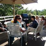 Guests and Wine on our large Deck with Mountain Views