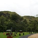 The tent area with cooking shelters