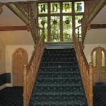 Fine Staircase and Stained Glass Window
