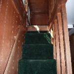steep stairs to loft in cabin 70