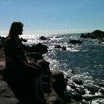 My wife just chilling on a rock, about 8pm - July 2011