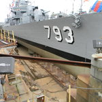 USS Cassin Young siting in Dry Dock 1