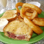 Hot Pastrami Sandwich & Onion Rings