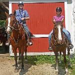 Here we are on our horses, Happy and Louie