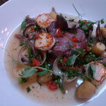 Fillet of Turbot from Clogherhead poached in Red Wine, Ratté potatoes and clams, braised oxtail,